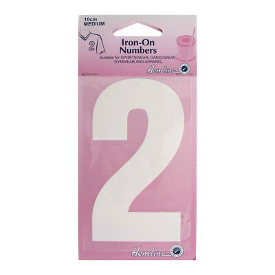 Hemline Iron-On Number 2 Suitable for Sport, dance, and Gym Wear | 10cm