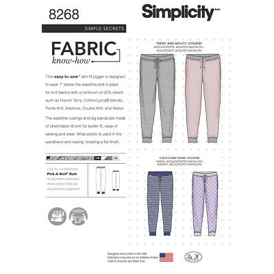 Simplicity Sewing Pattern Childs/Teens/Adults Slim Fit Jogger | XS - XL | 8268A