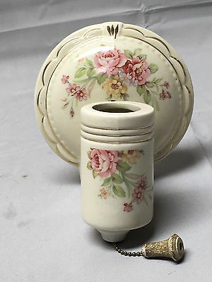 Antique Porcelain Rose Light Fixture Shabby Floral Chic Old Vtg Sconce 652-17E