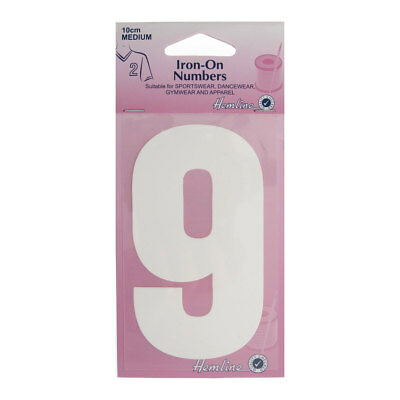 Hemline Iron-On Number 9 Suitable for Sport, dance, and Gym Wear | 10cm