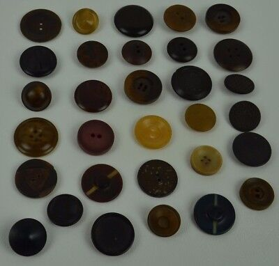 Vintage Vegetable Ivory Button Composite Carved Pairs Whistle Lot of 31 Buttons