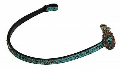 Showman Studded Leather Wither Strap W/ TEAL Filigree Print! NEW HORSE TACK!