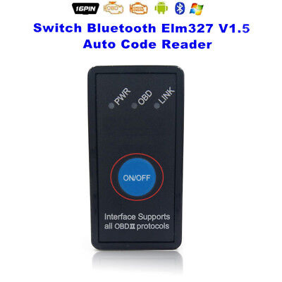 Bluetooth ELM327 V1.5 OBD2 Car Auto Diagnostic Scanner w/ Switch For Android WT
