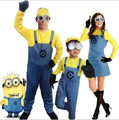 Despicable Me Minions Cosplay Halloween Costume Glasses Jumpsuit Outfit