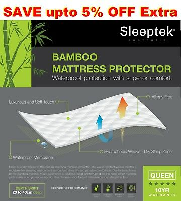 All Sizes Queen Mattress Protector Waterproof Fully Fitted Bamboo Bed Cover