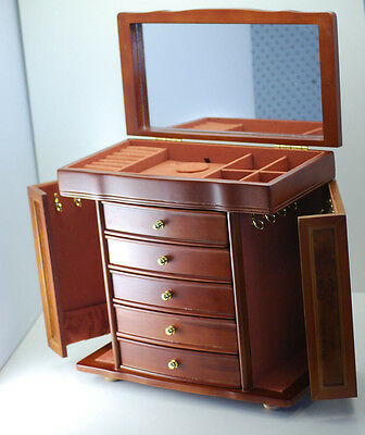 5Drawers Large Wooden Jewellery Gift Box Matt Finish Mirror Wings HS003 BROWN 5k