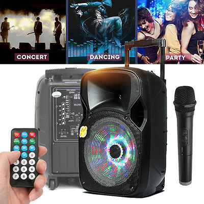 "220W 12"" PA System Active Address Speaker Wireless Mic Bluetooth USB Guitar In"