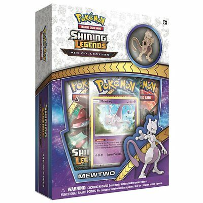 POKEMON TCG Shining Legends Pin Collection Mewtwo w/ 3 Booster Packs