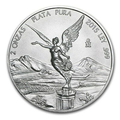 2015 - 2 oz Mexican Libertad BU .999 Fine Plata Pura  ~~ Perfect BU condition