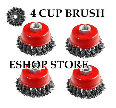 """4 PCS 3"""" x 5/8"""" 11 NC FINE Knot Wire Cup Brush Twist - For Angle Grinders Wheel"""