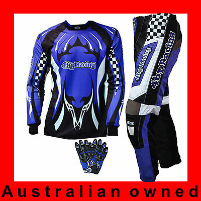 4BP Junior Motocross Pack - (Pants, Jersey, Gloves) Kids/youth Age 4-16 - Blue