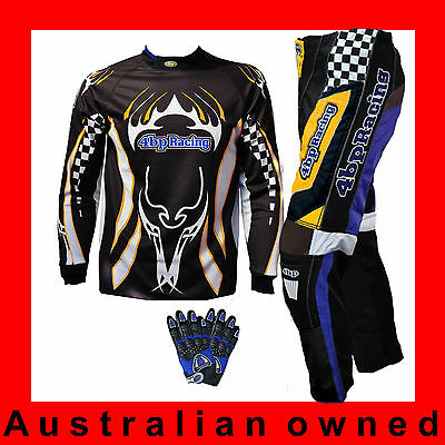 Junior Motocross Pack-(Pants, Jersey, Gloves) Kids/youth Age 4-16 - Yellow/Black