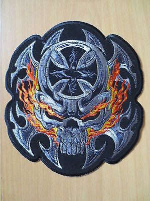 7'' Large PATCH Biker Embroidery Patches flame skull crossed 19cm*17cm BEP9