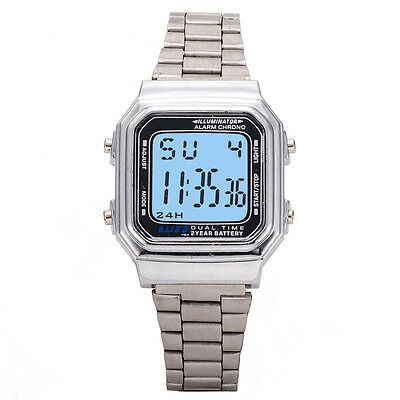 Men Retro Square Sports Watch LED Digital Stainless Steel Women Wristwatches