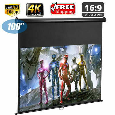 """100"""" 16:9 Electric Motorized HD Projector Screen Projection Home Cinema Theater"""