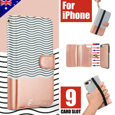 Apple iPhone X XS MAX XR 8 7 Plus Luxury Wallet Case Flip Leather Magnetic Cover