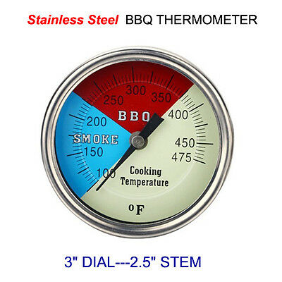 "3"" Bbq Grill Smoker Pit Thermometer Ss Thermostat Pit Temp Gauge 1/2"" Npt Stm"