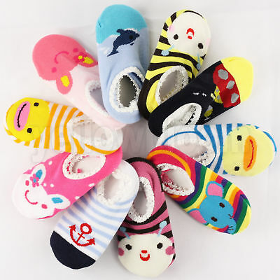 5 Pairs Baby Girl & Boy Toddler Anti-slip Socks Grip Slippers Animal Characters