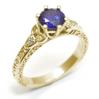Trinity Knot Ring Sapphire and Diamond 6 Claw 9ct Gold UK Hallmarked (SS286)