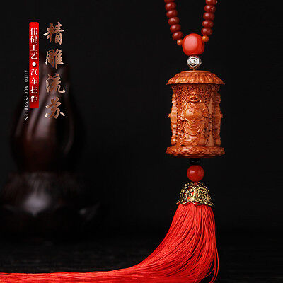 Delicate Chinese Happy Buddha Statue Sculpture 3D Wood Carved Car Pendant Amulet