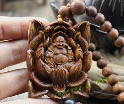 Wood Carved & Buddhism Beads Lotus Happy Buddha Statue Sculpture Amulet Pendant