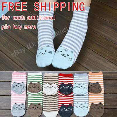 Women Cute 3D Cartoon Animals Striped Socks Cat Footprints Cotton Socks Floor