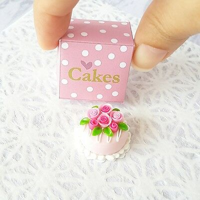 Pink Round Cake Rose in Box Dollhouse Miniature Food Supply Bakery Barbie Doll