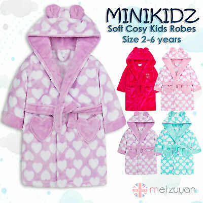 Minikidz Kids Childrens Girls Heart Print Dressing Gown Fleece Hooded Robe New