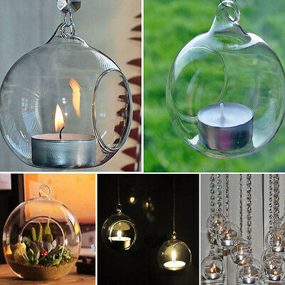 Crystal Glass Hanging Candle Holder Candlestick Home Wedding Party Dinner Decor