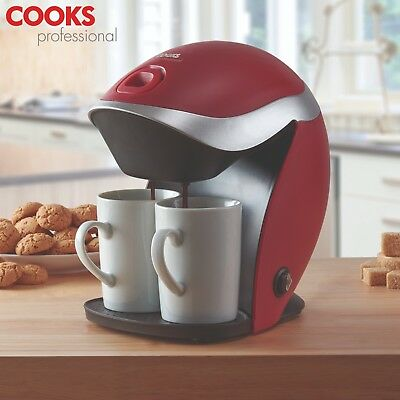 Cooks Professional 2 Cup Sleek Compact Easy to Use Filter Red Coffee Machine