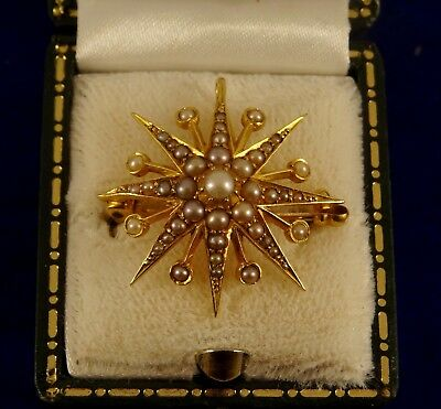 REDUCED Vintage Pearl STAR 15ct Gold Brooch Pin Pendant  2.5cm 3.7gr B23 Ex Cond