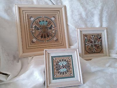 Authentic Navajo Sand Paintings Set of Three Signed by Artist on the back