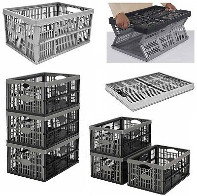 Strong Folding Collapsible Plastic Storage Crates Boxes Stackable Basket 32L New