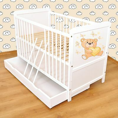 NEW WHITE 2in1 COT-BED 140x70 WITH DRAWER no 4 - INCLUDING FOAM MATTRESS