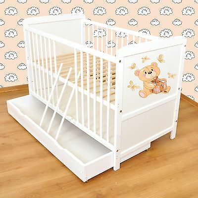 NEW WHITE 2in1 COT-BED 140x70 WITH DRAWER no 10 - INCLUDING FOAM MATTRESS