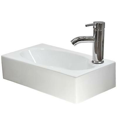 Small Bathroom Sink Rectangle Wall Mount Cloakroom Hand Basin White Ceramic Bowl