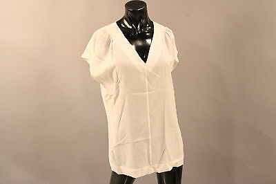 NWT ESCADA $1245 Size 40/M Crisp White Short Sleeve Shirt.100% Silk