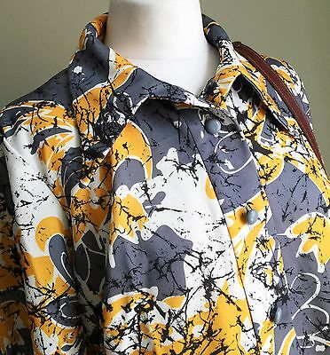 VINTAGE 70's Grey Yellow Abstract DAGGER Collar Ladies Shirt - Mod RETRO 14