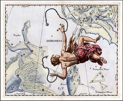 1687 old CELESTIAL MAP constellation Hevelius ANDROMEDA bound for sacrifice 11