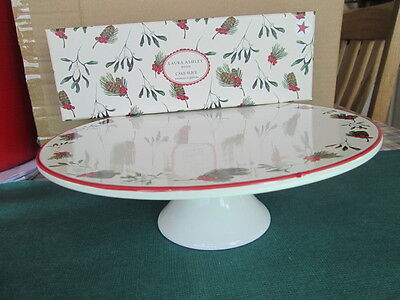 Laura Ashley Mistletoe & Firs Design Footed Cake Stand & Cake Slice