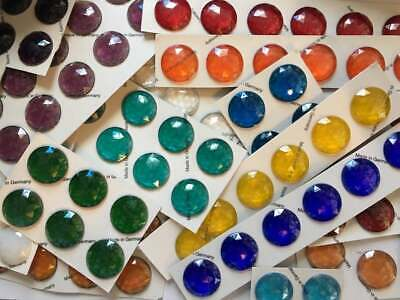 30mm Faceted Glass Jewels for Stained Glass ~ 13 Colors Available!!