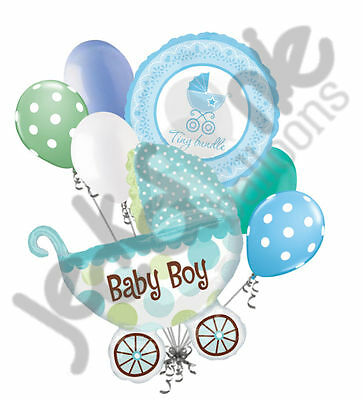 7 Pc Baby Boy Buggy Balloon Bouquet Party Decoration Welcome Home