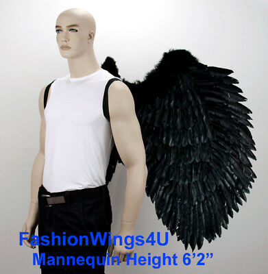 FashionWings BLACK XXXL Super Large wingspan costume feather angel wings