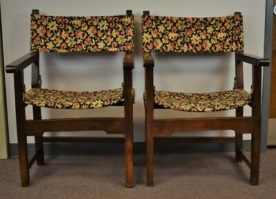 Pair of Tapestry Floral Needlepoint Armorial Hall Chairs