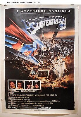 """SUPERMAN ll - GIANT ORIGINAL 39"""" x 55""""  Movie Poster 1980 - CHRISTOPHER REEVE"""