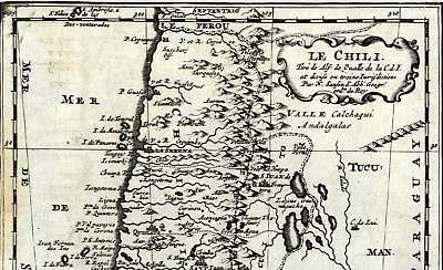 Chili Imperiale Chile South America Terra Magellan 1699 old Sanson map