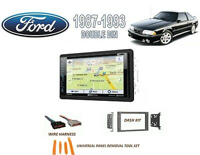 1987-1993 Ford Mustang Double Din Car Stereo Kit Bluetooth Gps Sirius Xm Ready