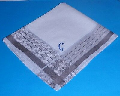 6   Pure  Cotton   Men's   Hankies  Grey  Check with initial  G       40  cm  SQ