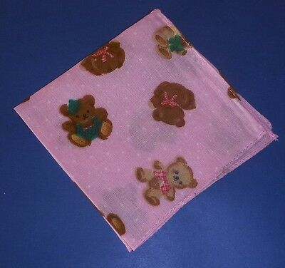12 Pure Cotton  Children's Hankies  4 Each of  Pink Peach &  Aqua     24.50 cm