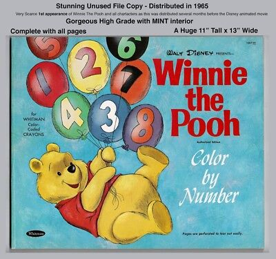 Winnie The Pooh Color By Number - Rare Unused File Copy - 1965 Before Movie!